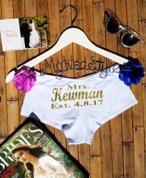 wedding photo - Personalized Lingerie, Personalized Bride Boyshorts, Honeymoon Lingerie, Wedding Lingerie, Bridal Underwear, Bachelorette Party Gift