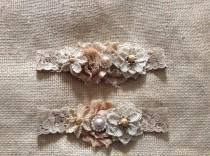 wedding photo - Vintage Rustic Couture Garter Set- Bridal Garter Set,wedding,fall wedding,country wedding,burlap wedding
