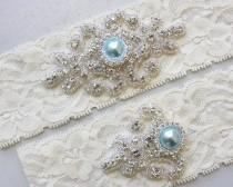wedding photo - Best Seller - RACHEL II - Blue Pearl Wedding Garter Set, Vintage Stretch Lace Garter, Rhinestone Bridal Garters, Something Blue