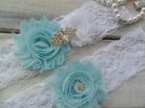 "wedding photo - SOMETHING BLUE lace garter, Bridal accessory, Wedding garter,Turquoise garter set,Your Choice Color,Wedding Accessory, Measure 2"" above knee"