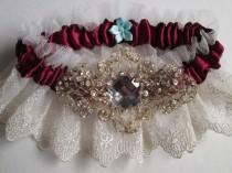 wedding photo - Marsala Red Garter Set, Ivory Lace Garters, Champagne Garter, Wine Red / Maroon / Cranberry Bridal Garters, Vintage Rustic Garter