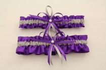 wedding photo - Purple and Silver/Grey Wedding Garter, Bridal Garter Set-(Your Choice, Single or Set)