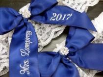 wedding photo - Embroidered Garter, Navy Blue Personalized Garter, Toss Garter, Custom Garter, Something Blue, Bridal Garter, Wedding Garter, Lace Garter