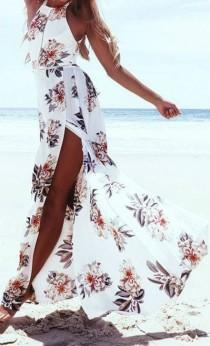 wedding photo - Elegant Halter Neck Floral Print Maxi Dress