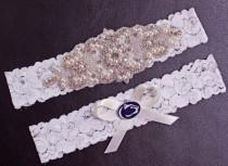 wedding photo - Penn State Wedding Garter Set, Penn State Garter, Penn State Bridal Garter Set, White Lace Wedding Garter, Nittany Lions Garter