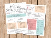 wedding photo - Rustic Infographic Wedding Program, Boho Wedding Program, Tribal Wedding Program, Fun Program, Printable Wedding Program, Unique Program