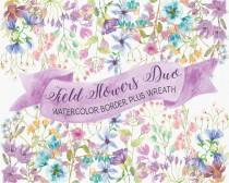 wedding photo - Field flowers in watercolor: wreath plus border; watercolor clip art; wedding clip art; weddings; wild flowers; instant download