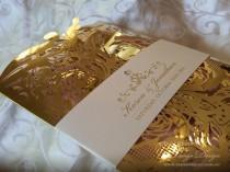 wedding photo - Gold foil wedding invitation Laser cut Wedding card 50 LASERCUT invitations. Lace gold wedding invites Luxury metallic sparkly wedding cards
