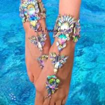 wedding photo - Tali Jeweled Crystal BareFoot Sandals