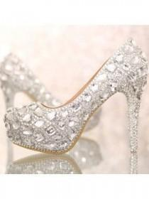 wedding photo - Closed Toe Silver Crystal Wedding Shoes - 5