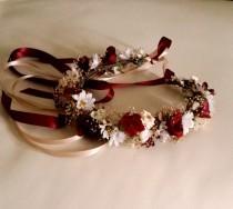 wedding photo - Marsala flower crown dried Floral hair wreath winter Rustic chic destination wedding Bridal party accessorie wine burgundy halo garland
