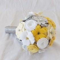 wedding photo - Country Chic Bouquet in Yellow and Grey, small