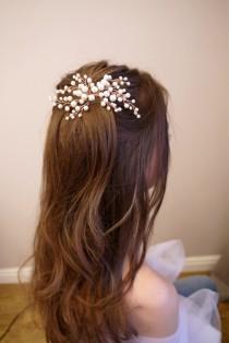 wedding photo - Rose Gold Bridal hair comb, Rose Gold Bridal headpiece, Bridal hair piece, Wedding hair piece, Wedding hair comb, Wedding headpiece