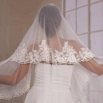 wedding photo - Ivory Bridal Mantilla Veil, Wedding Veil, Lace Veil, Mantilla Veil, Vintage Ivory Veil, Vintage Veil, Long Mantilla Veil, Silk Tulle veil,
