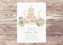 wedding photo - Printed Baby Shower Tea Party Invitation, Custom Personalized, Sprinkle Tea Party Shower, Bridal Shower Tea Party Invitation