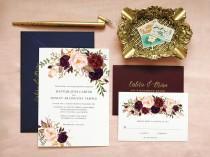 wedding photo - Bohemian Wedding Invitation Suite, Boho Wedding Invite, Boho Chic Wedding Invitation, Invitation Suite Spring Summer, Floral, Marsala