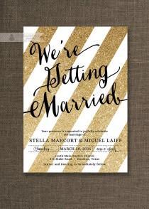 wedding photo - Gold Glitter & Black Wedding Invitation Gold Stripes Modern Script Sparkle Gatsby Printable FREE PRIORITY SHIPPING or DiY Printable - Stella