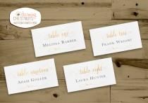 wedding photo - WHITE and GOLD Wedding PLACECARDS, Classic gold, Printable Wedding Place Cards, elegant white and gold, Name Card, Escort Card, Matching Set