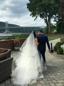 wedding photo - Horsehair veil, horsehair trim veil, wedding veil, ivory veil, fingertip veil, cathedral veil, chapel veil, hip veil, Bridal veil, trim veil