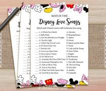 wedding photo - Disney Love Songs Match Game - Printable Bridal Shower Love Song Game  - Bridal Shower Party Game - Bachelorette Party Games 009