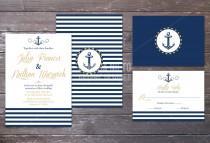 wedding photo - Printable Nautical Beach Wedding Invitation and RSVP/ Sea side wedding/ Navy Wedding/ Anchor invitation