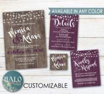 wedding photo - Purple Rustic Wedding Invitations - Plum, Eggplant, Purple, Wood, Invitation Kit