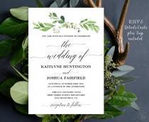 wedding photo - Greenery Wedding  Invitation, Printable Garden Greenery Wedding Invitation Template, Editable Text, Instant Download, Garden Greenery