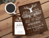 wedding photo - PRINTABLE Wedding Invitation Template, Antler Wedding Invitations, Rustic Wedding Invitation Templates, Invitation Template, Winter Wedding