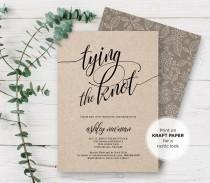 wedding photo - Rustic Bridal Shower Invitation Printable, Tying the Knot Wedding Shower Invite Template, Editable PDF File, Instant Download #115BS