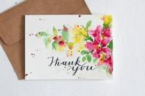 wedding photo - Hand lettered Wedding Thank You Card, thanks, thank you, thank you notes, Paper Goods, blank thank you, Floral thank you, thank you note