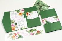 wedding photo - Hibiscus Wedding Invitation, Tropical Invitation, Destination Wedding Invitation, Palm leaves, watercolor, Hawaii Wedding -DEPOSIT