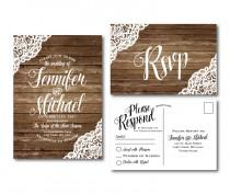 wedding photo - Rustic Wedding Invitation & RSVP Postcard Set - Country Chic - Rustic Lace - Fall Wedding - Rustic Lace Wedding - Printed Wedding Set #CL150