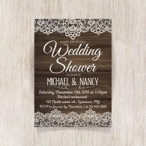 wedding photo - Wedding Shower invitation, Rustic Wedding, Party Invitation with lace. Modern printable invitation. Wooden texture - 1601