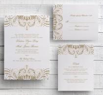 wedding photo - Blush Pink and Gold Invitations, DIY Wedding Invitation Suite, Great Gatsby Invitation, Vintage Wedding Invitations Templates, Printable