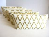 wedding photo - Set of 5 - Metallic Gold and Cream Clutches - Gold Makeup Bag - Gold Wedding Clutch - Gold Bridesmaid Clutch - Gold Bridal Bag - Gold Pouch