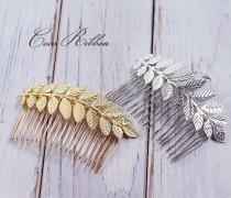 wedding photo - Leafy Bridal Hair Comb, Laurel Leaf Gold / Silver Wedding Bridal Hair Piece Pin E24