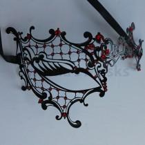 wedding photo - Black laser cut Venetian Phentom Mask Masquerade w/ Red Rhinestones  SKU: 7K31