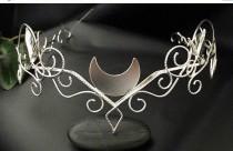 wedding photo - Silver Moon Elvish Circlet, Woodland Crescent Moon Tiara, Artisan Wire Work Circlet Handmade, OOAK Bridal Circlet, Handfasting Circlet