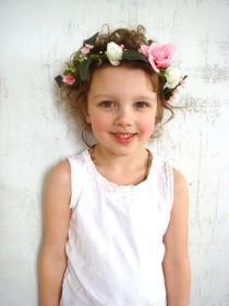 wedding photo - Girl flower crown, flower girl headband, rose hair accessory, flower girl