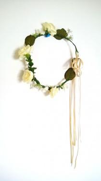 wedding photo - Flower crown, rustic head wreath, wedding headband, bridal hair, wedding crown, rose