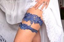wedding photo - Navy Blue Garter, Wedding Garter, Lace Wedding Garter, Wedding Garter Set, Something Blue, Garter, Blue Garter, Bridal Garter, Navy Garter