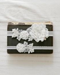 wedding photo - Ivory lace wedding garter set, keepsake garter, tossing garter, bridal lace garter set - style 408 set