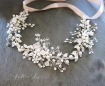 wedding photo - Silver Boho Hair Halo, Bridal Pearl Flower Hair Crown, Hair Wreath, Antique Gold Wedding Hair Vine, Boho Wedding Headpiece - 'ZINNIA'