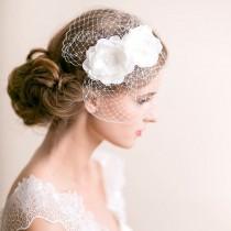 wedding photo - Mini Birdcage Veil with Flowers - Bridal Birdcage Fascinator with Flower - Wedding Birdcage Veil - Wedding Hair Accessories - Light ivory
