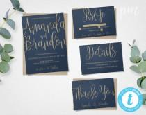 wedding photo - Blue & Gold Wedding Invitation Template Suite, Navy Calligraphy Script Printable Invitation, Instant Download DIY Wedding Invitations