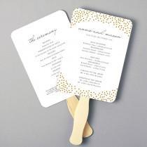 wedding photo - Printable Fan Program, Fan Program Template, Wedding Fan Template, Gold Dots, DIY in Microsoft Word or Apple Pages, INSTANT DOWNLOAD
