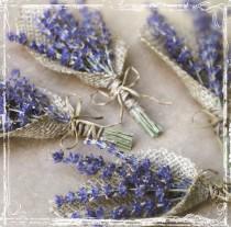 wedding photo - Lavender And Burlap Boutonniere - Herb Weddings - European Elegant Wedding - Purple Dried Flower - Groomsmen, Groom - Herbal Lapel Pin