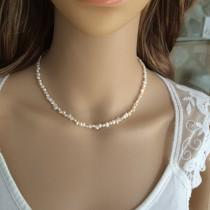 wedding photo - Tiny Freshwater pearl choker necklace simple pearl bridal necklace small seed pearl wedding necklace dainty bridal jewelry jewellery gift