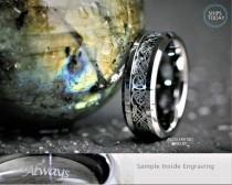 wedding photo - 8MM Mens Silver Tungsten With Celtic Dragon Scroll  Wedding, Engagement, Anniversary Ring, Custom Laser Engraved Inside