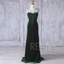 wedding photo - 2017 Dark Green Velvet Bridesmaid Dress, Ruched Bodice Wedding Dress, Sweetheart Spaghetti Straps Prom Dress, Backless MOD Dress Full(HV412)